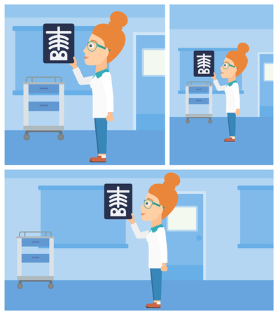radiograph: Female doctor looking at a skeleton radiograph in the medical office. Vector flat design Illustration. Square, horizontal, vertical layouts. Illustration