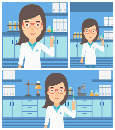laboratory equipment: Female laboratory assistant holding syringe on the background of a laboratory with equipment. Vector flat design Illustration. Square, horizontal, vertical layouts. Illustration