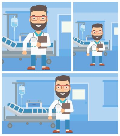 hospital ward: A hipster friendly doctor with stetoscope standing in hospital ward and carrying folder of patient or medical information. Vector flat design Illustration. Square, horizontal, vertical layouts.