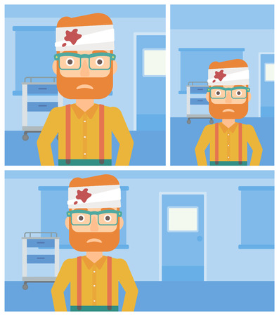 Sad hipster man with bandages over his head in the medical office. Vector flat design Illustration. Square, horizontal, vertical layouts.