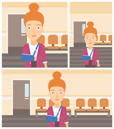 Young woman with broken right arm in brace standing in the hospital corridor. Vector flat design Illustration. Square, horizontal, vertical layouts.
