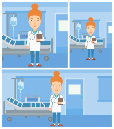 hospital ward: Female friendly doctor with stetoscope standing in hospital ward and carrying folder of patient or medical information. Vector flat design Illustration. Square, horizontal, vertical layouts.