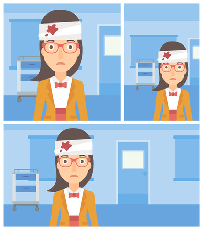 wounded: Young sad wounded woman with bandages over her head in the medical office. Vector flat design Illustration. Square, horizontal, vertical layouts.