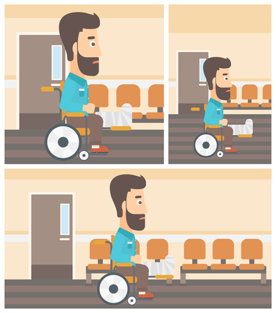 hospital corridor: Young hipster man with broken leg in plaster sitting in wheelchair in the hospital corridor. Vector flat design Illustration. Square, horizontal, vertical layouts. Illustration