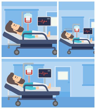 Joven tendido en la cama en la sala del hospital. Paciente con pulsómetro y equipos de transfusión de sangre en la sala médica. Vector la ilustración de diseño plano. Cuadrado, verticales, horizontales diseños.