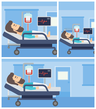 patient bed: Young man lying in bed at hospital ward. Patient with heart rate monitor and equipment for blood transfusion in medical room. Vector flat design Illustration. Square, horizontal, vertical layouts.