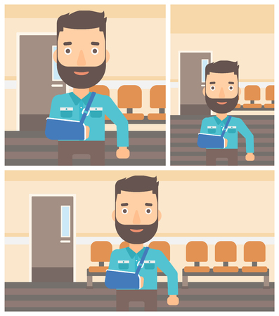 hospital corridor: Young hipster man with broken right arm in brace standing in the hospital corridor. Vector flat design Illustration. Square, horizontal, vertical layouts. Illustration