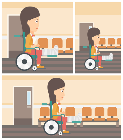hospital corridor: Young injured woman with broken leg in plaster sitting in wheelchair in the hospital corridor. Vector flat design Illustration. Square, horizontal, vertical layouts.