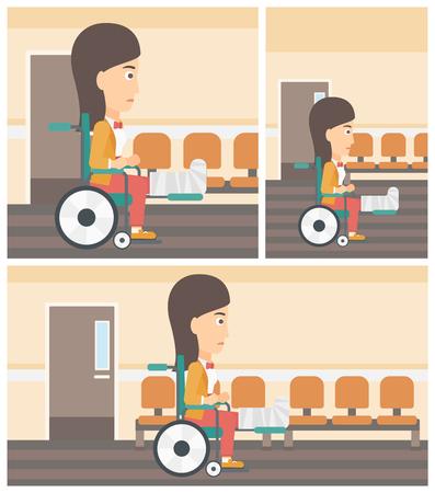 mujer herida joven con la pierna rota en yeso que se sienta en la silla de ruedas en el pasillo del hospital. Vector la ilustración de diseño plano. Cuadrado, verticales, horizontales diseños.