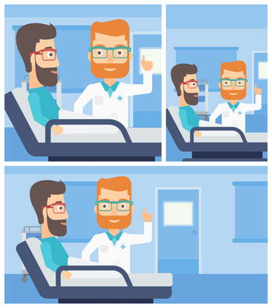 Hipster doctor visiting male patient and pointing finger up during consultation in hospital room. Vector flat design Illustration. Square, horizontal, vertical layouts.