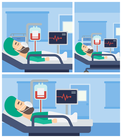 hospital ward: Hipster man in oxygen mask lying in hospital ward with heart rate monitor and equipment for blood transfusion. Vector flat design Illustration. Square, horizontal, vertical layouts.