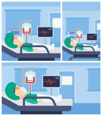 blood pressure monitor: Young woman in oxygen mask lying in hospital ward with heart rate monitor and equipment for blood transfusion. Vector flat design Illustration. Square, horizontal, vertical layouts.
