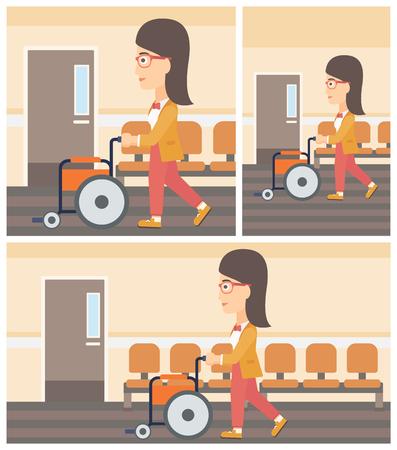 Jonge vrouw duwen lege rolstoel op de achtergrond van het ziekenhuis gang. Vector platte ontwerp Illustratie. Square, horizontale, verticale lay-outs.