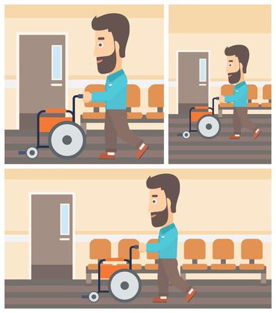Jonge hipster man met de baard duwen lege rolstoel op de achtergrond van het ziekenhuis gang. Vector platte ontwerp Illustratie. Square, horizontale, verticale lay-outs. Stock Illustratie