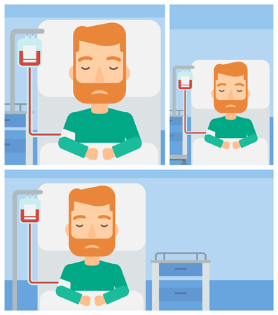 patient bed: Young hipster man lying in bed at hospital ward with equipment for blood transfusion. Vector flat design Illustration. Square, horizontal, vertical layouts.