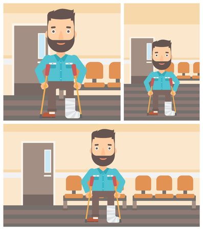 hospital corridor: An injured hipster man with leg in plaster using crutches while standing in the hospital corridor. Vector flat design Illustration. Square, horizontal, vertical layouts.