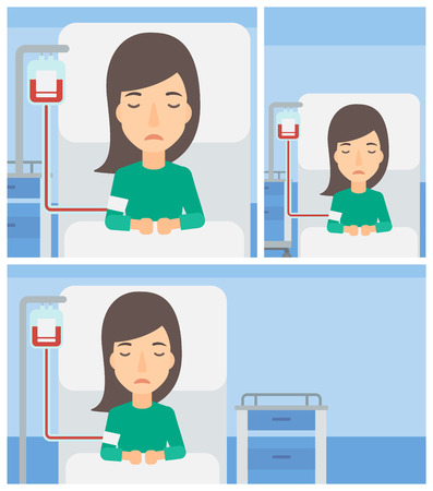woman lying in bed: Young woman lying in bed at hospital ward with equipment for blood transfusion. Vector flat design Illustration. Square, horizontal, vertical layouts. Illustration