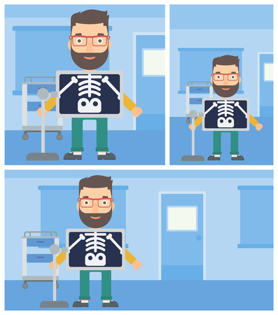 radiograph: Young hipster man with x ray screen showing his skeleton in examination room. Vector flat design Illustration. Square, horizontal, vertical layouts.