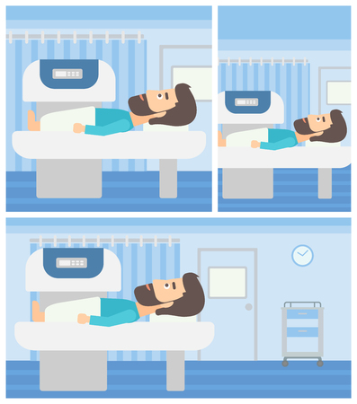 xray machine: Hipster young man with the beard undergoes an open magnetic resonance imaging scan procedure in hospital rooom. Vector flat design Illustration. Square, horizontal, vertical layouts. Illustration