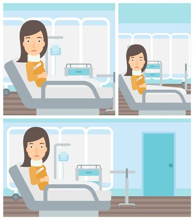 Young woman with neck brace lying in bed in hospital ward and suffering from pain. Vector flat design Illustration. Square, horizontal, vertical layouts. Illustration