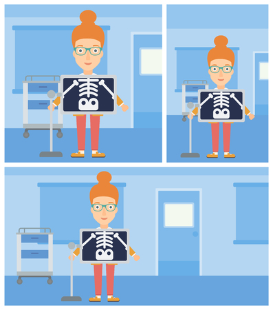 xray machine: Young woman with x ray screen showing her skeleton in examination room. Vector flat design Illustration. Square, horizontal, vertical layouts. Illustration