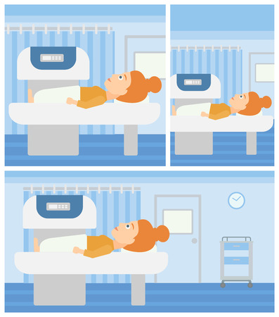 Young woman undergoes an open magnetic resonance imaging scan procedure in hospital rooom. Vector flat design Illustration. Square, horizontal, vertical layouts.