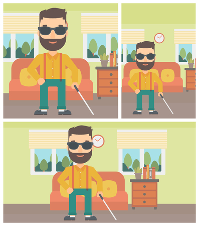 helper: A blind hipster man in dark glasses standing with walking stick in the living room. Vector flat design Illustration. Square, horizontal, vertical layouts.