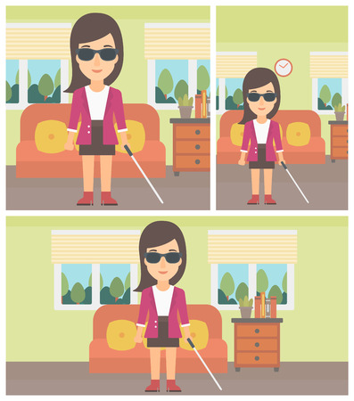 blind woman: A blind young woman in dark glasses standing with walking stick in the living room. Vector flat design Illustration. Square, horizontal, vertical layouts.