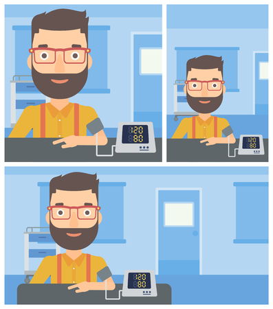 Young hipster man with the beard taking care of his health and checking his blood pressure with digital meter. Vector flat design Illustration. Square, horizontal, vertical layouts. 向量圖像