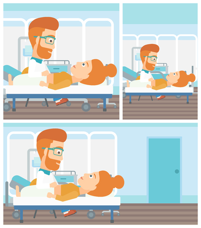 doctor and patient vector: A hipster doctor with the beard touching abdomen of female patient. Woman on reception at doctor. Vector flat design Illustration. Square, horizontal, vertical layouts. Illustration