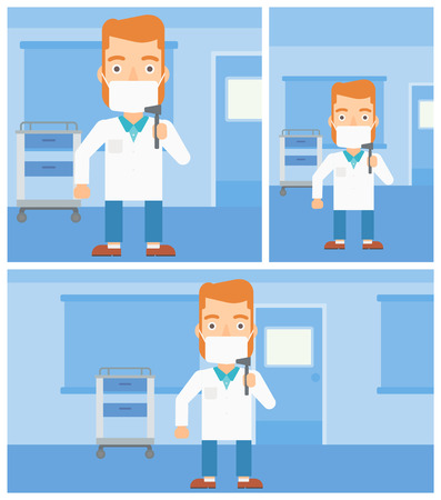 ent: Hipster male ear nose throat doctor in mask holding tools used for examination while standing in the medical office. Vector flat design Illustration. Square, horizontal, vertical layouts.