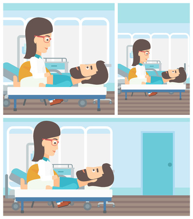 doctor and patient vector: Young female doctor touching abdomen of patient. Hipster man with the beard on reception at doctor. Vector flat design Illustration. Square, horizontal, vertical layouts. Illustration