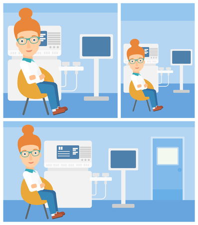 ultrasound: Female ultrasound doctor sitting with arms crossed near modern ultrasound equipment at medical office. Vector flat design Illustration. Square, horizontal, vertical layouts.