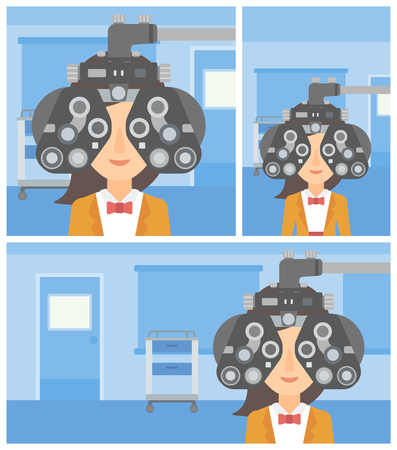 Young woman undergoing an eye examination while visiting optometrist at the medical office. Vector flat design Illustration. Square, horizontal, vertical layouts.