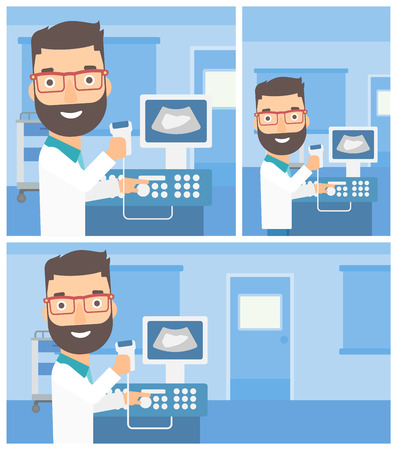 medical scanner: Young hipster male doctor working on modern ultrasound equipment and holding scanner in hand at medical office. Vector flat design Illustration. Square, horizontal, vertical layouts.