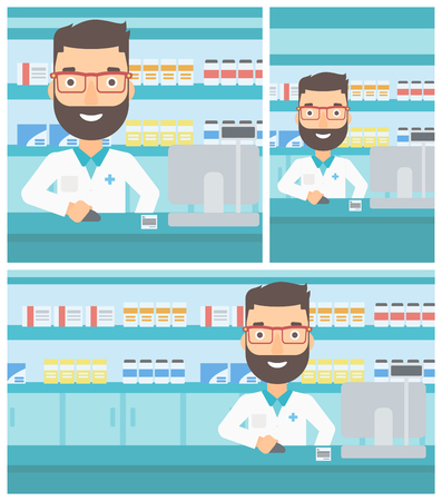 A hipster pharmacist with the beard in medical gown standing at pharmacy counter and working on a computer. Vector flat design Illustration. Square, horizontal, vertical layouts.