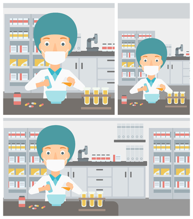 Young female pharmacist in mask using mortar and pestle for preparing medicine in the laboratory. Vector flat design Illustration. Square, horizontal, vertical layouts. Illustration