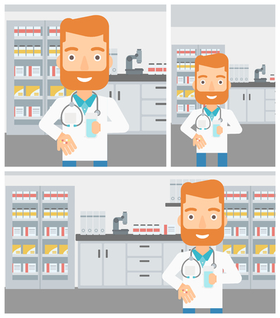 druggist: A hipster pharmacist with the beard in medical gown holding in hands a glass of water and pills in the laboratory. Vector flat design Illustration. Square, horizontal, vertical layouts.