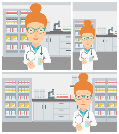 stetoscope: Young female pharmacist with stetoscope wearing medical gown and holding in hands a glass of water and pills in the laboratory. Vector flat design Illustration. Square, horizontal, vertical layouts. Illustration