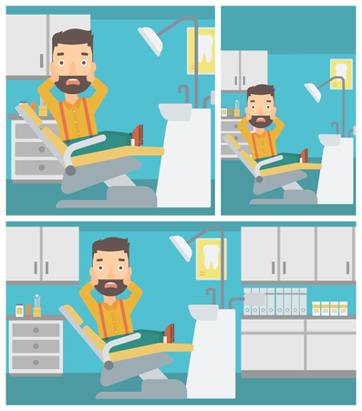 dental chair: Frightened hipster patient with the beard sitting in dental chair at dentist office. Vector flat design Illustration. Square, horizontal, vertical layouts.