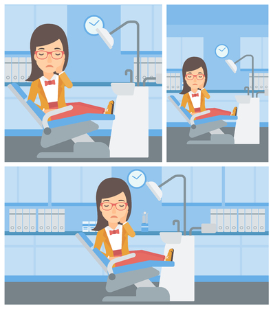 tooth pain: Young female patient sitting in dental chair at dentist office and suffering from tooth pain. Woman having a toothache. Vector flat design Illustration. Square, horizontal, vertical layouts.