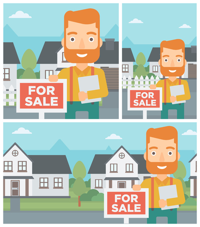 estate agent: Real estate agent offering the house. Male broker with placard for sale and documents in hands standing in front of the house. Vector flat design Illustration. Square, horizontal, vertical layouts.