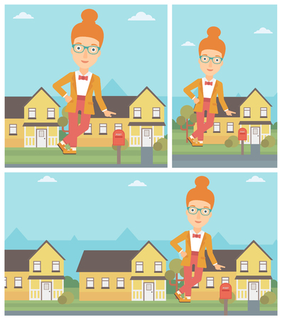 real estate agent: Female real estate agent standing near the house and offering it. Young real estate agent leaning on the house. Vector flat design Illustration. Square, horizontal, vertical layouts.