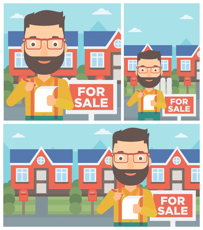 signing: Hipster real estate agent with beard signing contract. Real estate agent standing in front of the house with placard for sale. Vector flat design Illustration. Square, horizontal, vertical layouts.