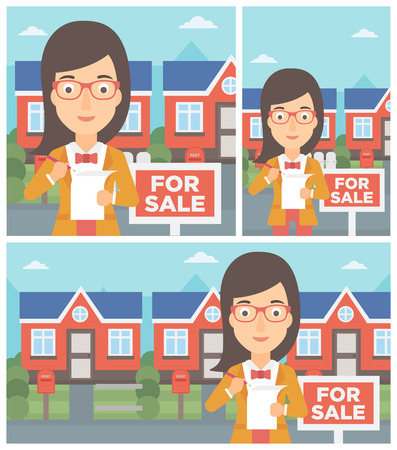 signing agent: Female real estate agent signing a contract. Young real estate agent standing in front of the house with placard for sale. Vector flat design Illustration. Square, horizontal, vertical layouts.