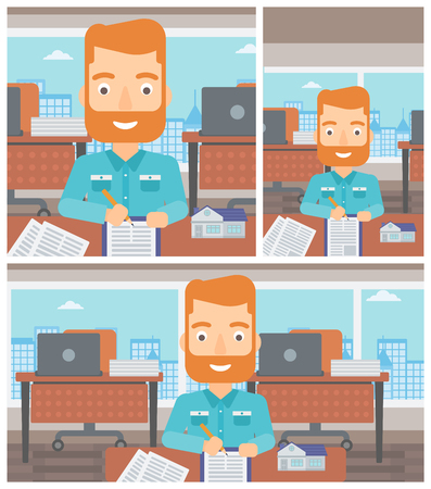 signing agent: Male real estate agent signing contract. Young real estate agent sitting at workplace in office with a house model on the table. Vector flat design Illustration. Square, horizontal, vertical layouts.