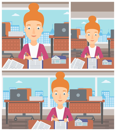signing agent: Female real estate agent signing a contract. Real estate agent sitting at workplace in office with a house model on the table. Vector flat design Illustration. Square, horizontal, vertical layouts.