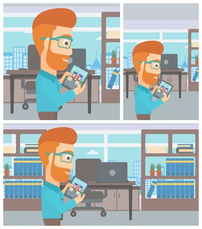 looking at computer screen: A hipster man looking at house on a digital tablet screen. Man standing in office and looking for house on tablet computer. Vector flat design Illustration. Square, horizontal, vertical layouts.