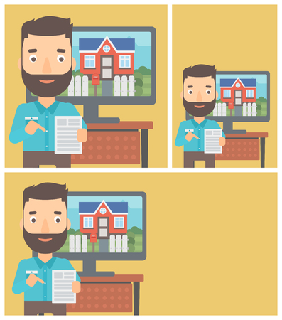 photo real: Hipster man with the beard standing in front of tv screen with house photo on it and pointing at a real estate contract. Vector flat design Illustration. Square, horizontal, vertical layouts. Illustration