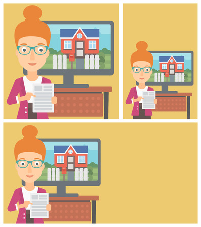 flat screen tv: Young woman standing in front of tv screen with house photo on it and pointing at a real estate contract. Vector flat design Illustration. Square, horizontal, vertical layouts.